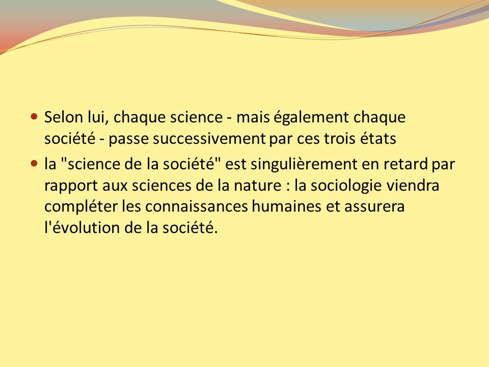 Selon lui, chaque science - mais également chaque société - passe successivement par ces trois états la