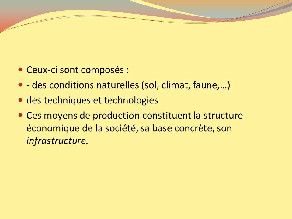 Ceux-ci sont composés : - des conditions naturelles (sol, climat, faune,…) des techniques et technologies Ces moyens de production constituent la stru