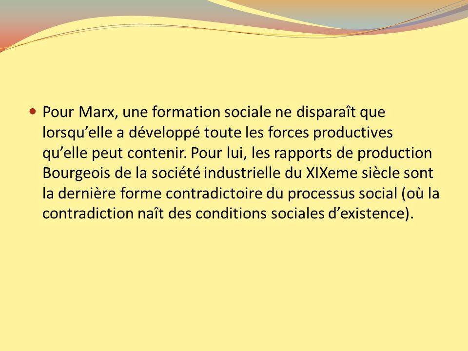 Pour Marx, une formation sociale ne disparaît que lorsquelle a développé toute les forces productives quelle peut contenir. Pour lui, les rapports de