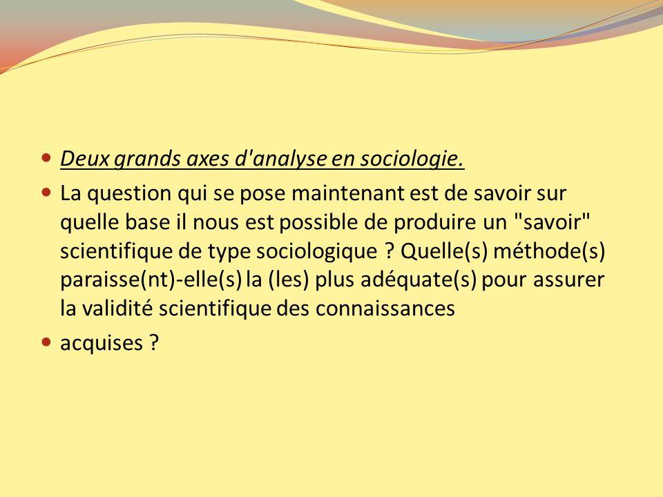 Deux grands axes d'analyse en sociologie. La question qui se pose maintenant est de savoir sur quelle base il nous est possible de produire un