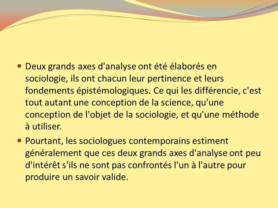 Deux grands axes d'analyse ont été élaborés en sociologie, ils ont chacun leur pertinence et leurs fondements épistémologiques. Ce qui les différencie
