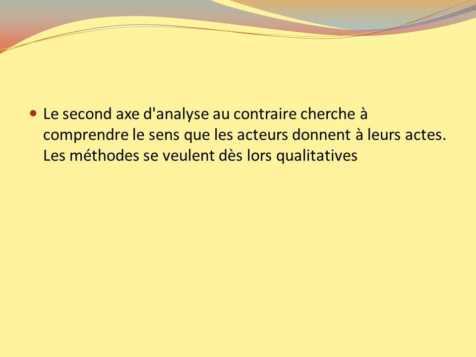 Le second axe d'analyse au contraire cherche à comprendre le sens que les acteurs donnent à leurs actes. Les méthodes se veulent dès lors qualitatives