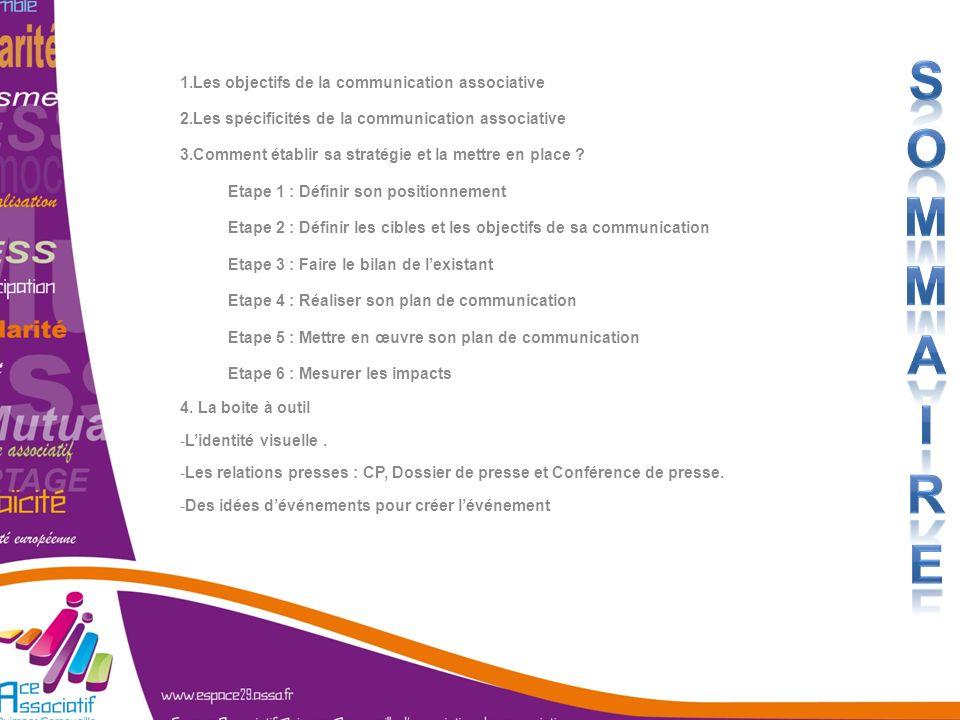 1.Les objectifs de la communication associative 2.Les spécificités de la communication associative 3.Comment établir sa stratégie et la mettre en plac