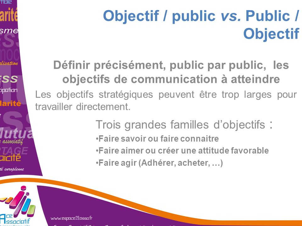 Objectif / public vs. Public / Objectif Définir précisément, public par public, les objectifs de communication à atteindre Les objectifs stratégiques