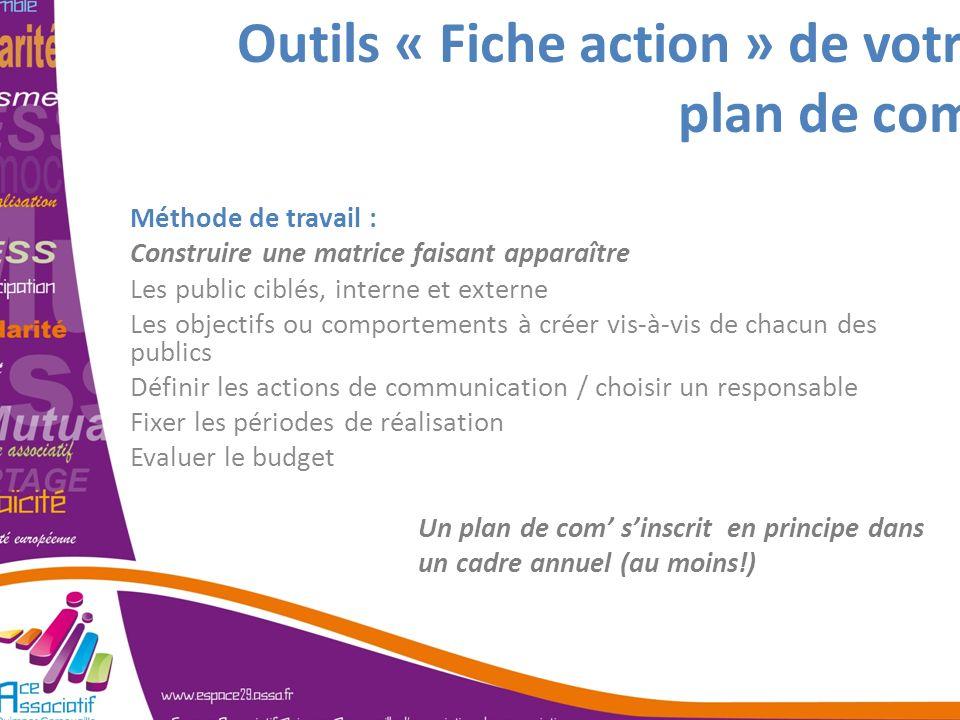 Outils « Fiche action » de votre plan de com Méthode de travail : Construire une matrice faisant apparaître Les public ciblés, interne et externe Les