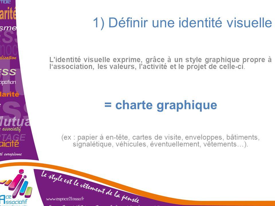 1) Définir une identité visuelle L'identité visuelle exprime, grâce à un style graphique propre à lassociation, les valeurs, l'activité et le projet d