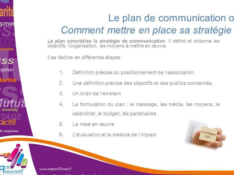 Le plan de communication ou Comment mettre en place sa stratégie ? Le plan concrétise la stratégie de communication. Il définit et ordonne les objecti