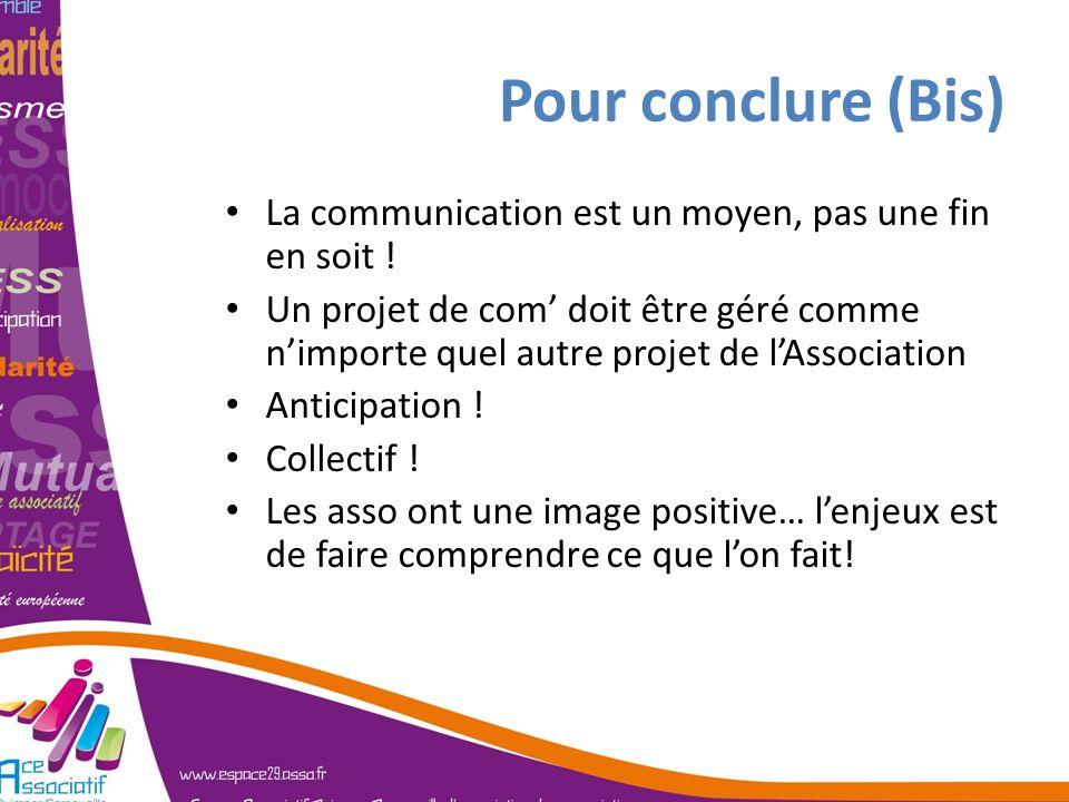 Pour conclure (Bis) La communication est un moyen, pas une fin en soit ! Un projet de com doit être géré comme nimporte quel autre projet de lAssociat