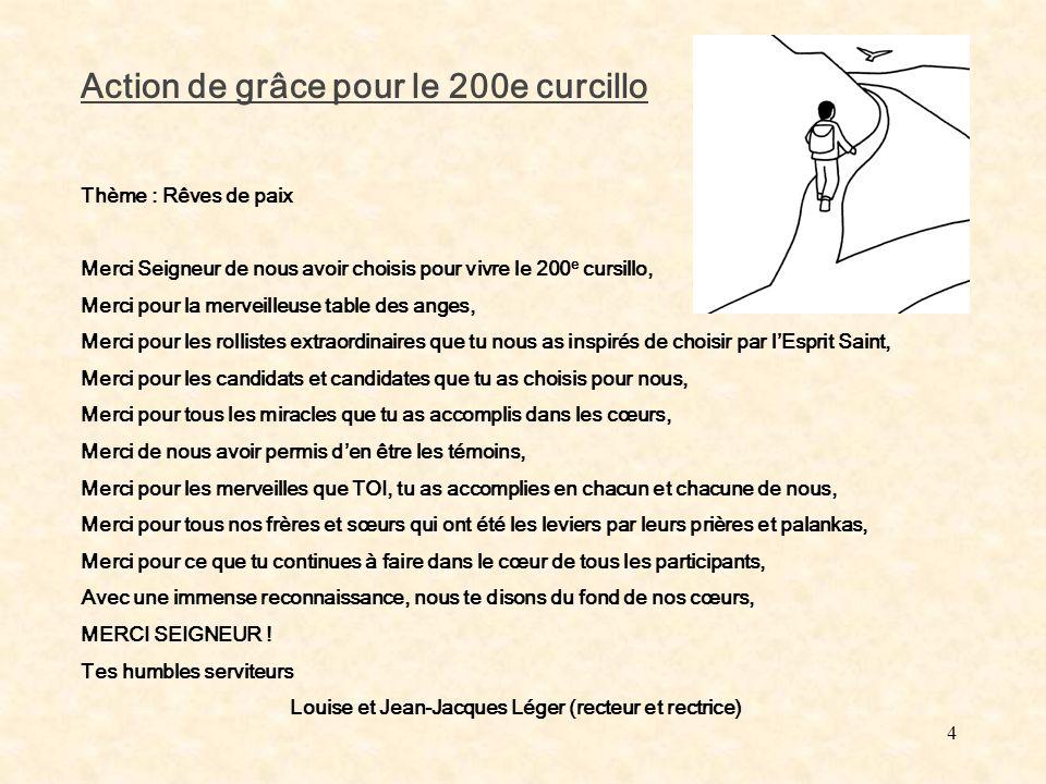 4 Action de grâce pour le 200e curcillo Thème : Rêves de paix Merci Seigneur de nous avoir choisis pour vivre le 200 e cursillo, Merci pour la merveil