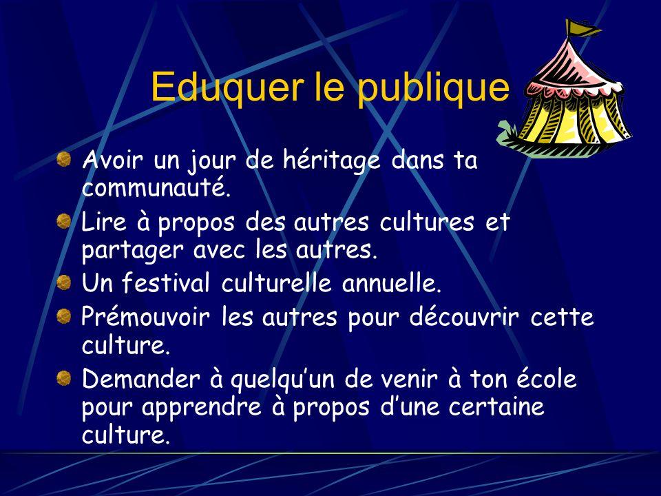 Eduquer le publique Avoir un jour de héritage dans ta communauté.