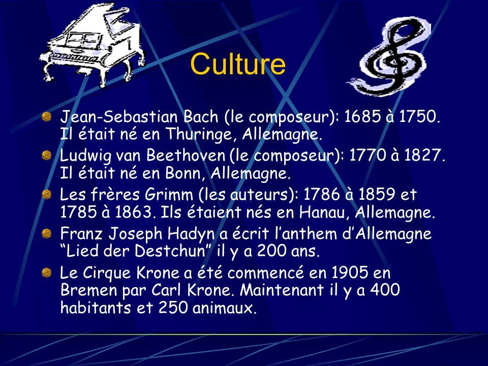Culture Jean-Sebastian Bach (le composeur): 1685 à 1750.