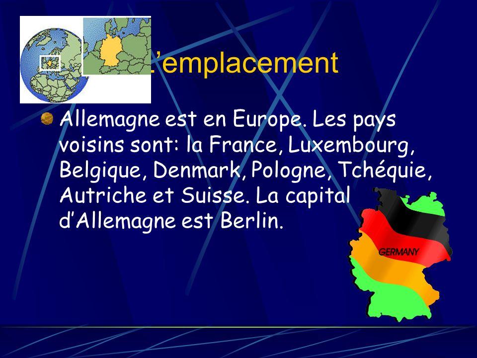 Lemplacement Allemagne est en Europe.