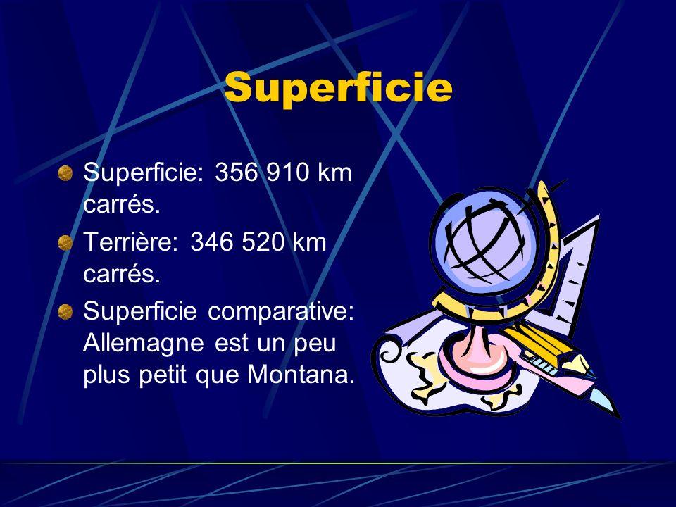 Superficie Superficie: 356 910 km carrés.Terrière: 346 520 km carrés.
