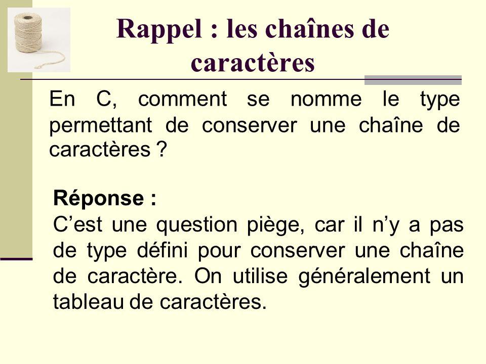 Rappel : les caractères Quel module offre des fonctions telles que isalpha, isdigit, toupper, etc. ? Réponse : Le module ctype.h.