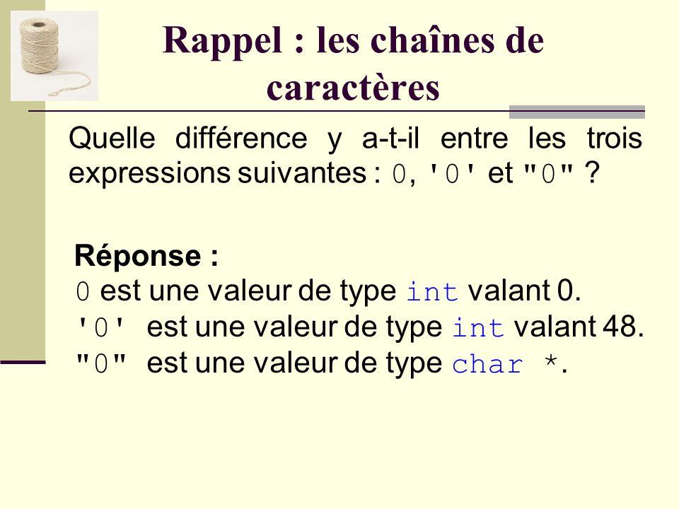 Rappel : les chaînes de caractères En C, comment se nomme le type permettant de conserver une chaîne de caractères ? Réponse : Cest une question piège