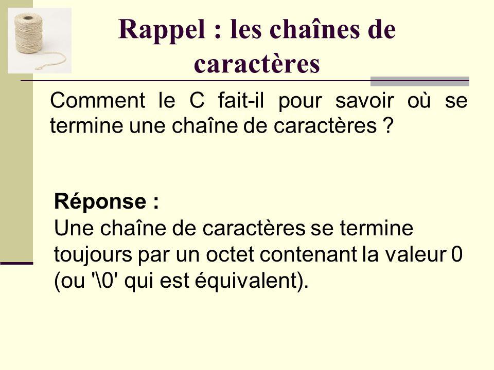 Rappel : les chaînes de caractères Quelle différence y a-t-il entre les trois expressions suivantes : 0, '0' et