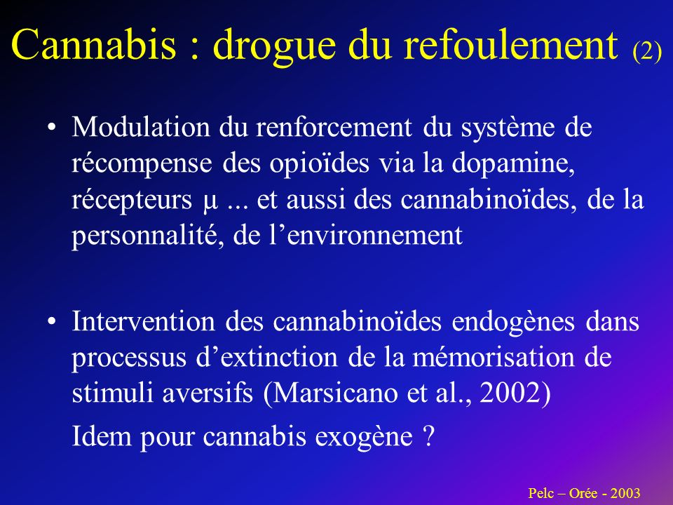 Cannabis : drogue du refoulement (2) Modulation du renforcement du système de récompense des opioïdes via la dopamine, récepteurs µ...