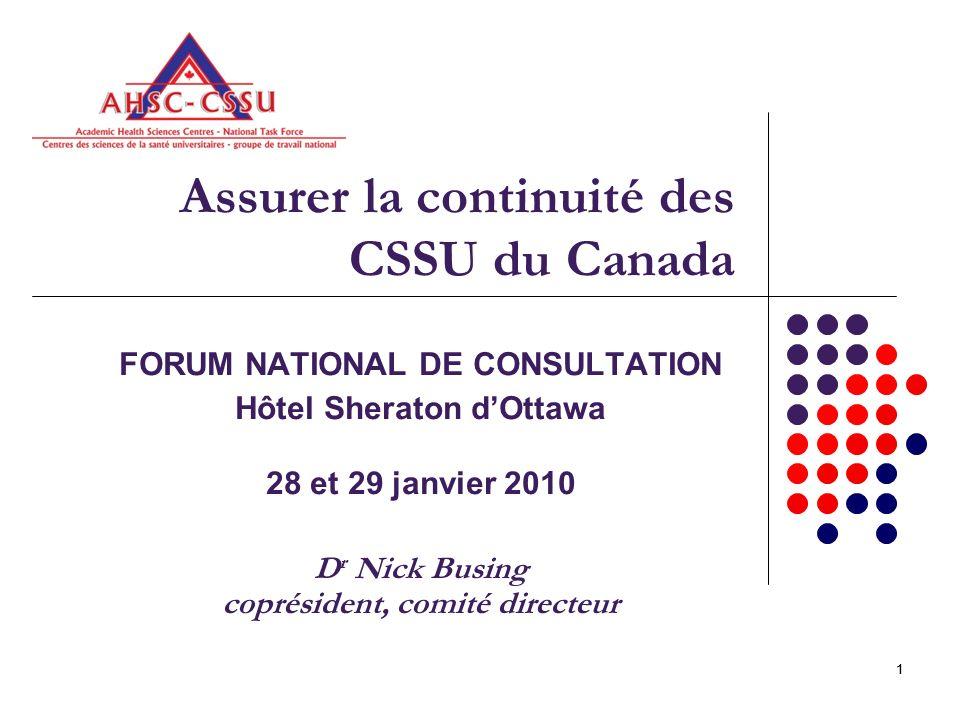 2 Ce que nous avons appris – recueillir les faits probants 1)Assurer la continuité des CSSU du Canada Enquête sur le contexte 2)Assurer la continuité des CSSU du Canada Une étude de cas décrivant létat actuel des CSSU et les problèmes éventuels