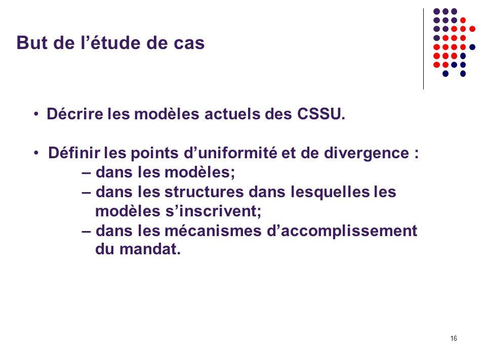 16 But de létude de cas Décrire les modèles actuels des CSSU.