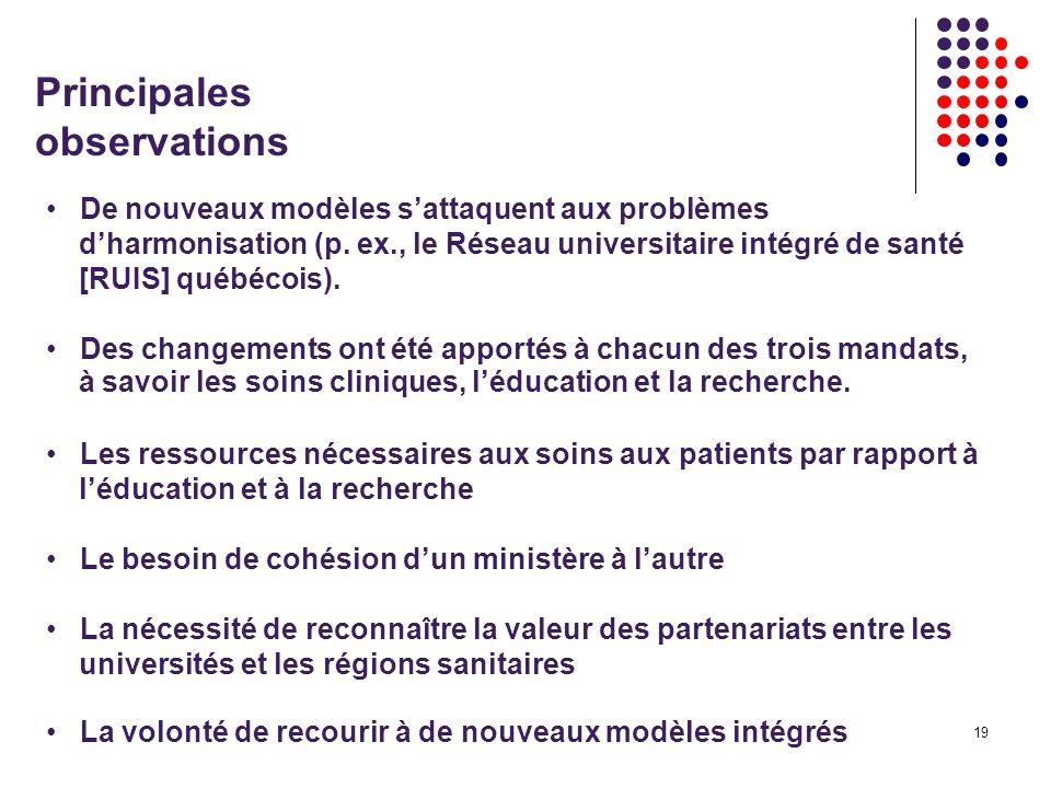 19 Principales observations De nouveaux modèles sattaquent aux problèmes dharmonisation (p.