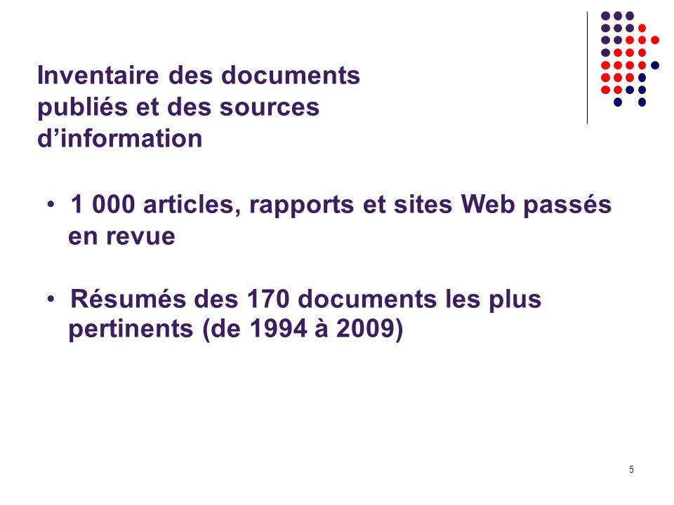 5 Inventaire des documents publiés et des sources dinformation 1 000 articles, rapports et sites Web passés en revue Résumés des 170 documents les plus pertinents (de 1994 à 2009)