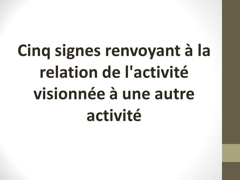 Cinq signes renvoyant à la relation de l'activité visionnée à une autre activité