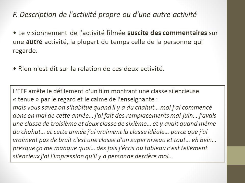 F. Description de l'activité propre ou d'une autre activité Le visionnement de l'activité filmée suscite des commentaires sur une autre activité, la p