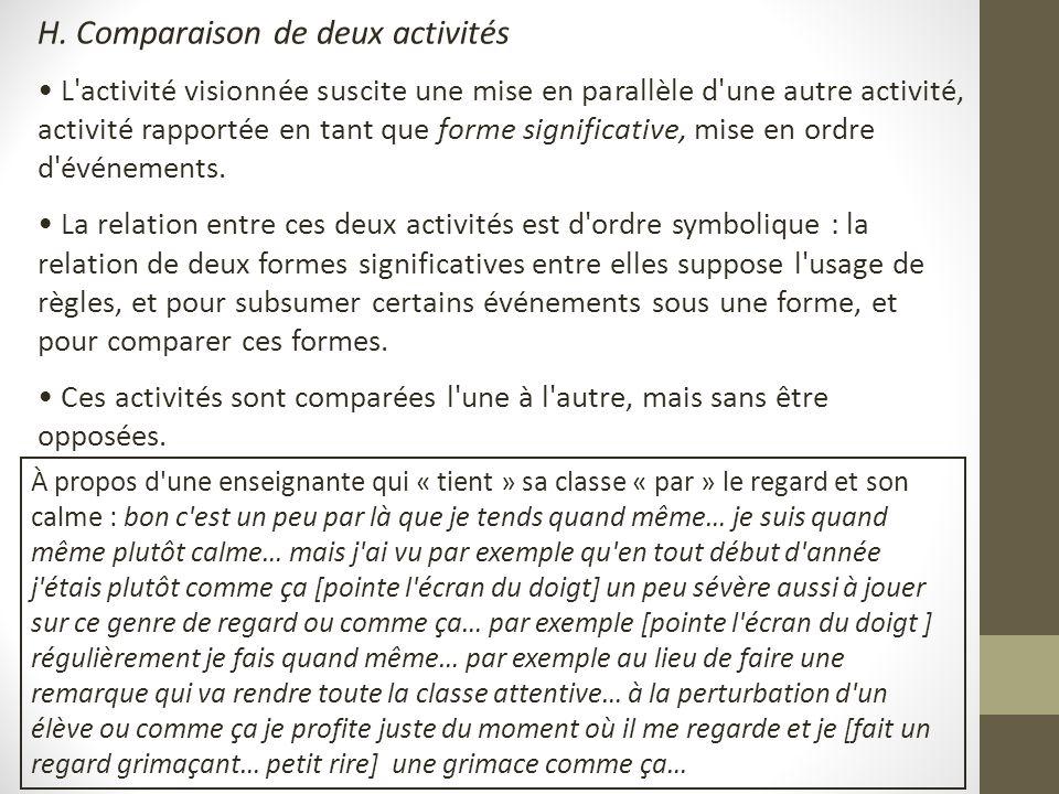 H. Comparaison de deux activités L'activité visionnée suscite une mise en parallèle d'une autre activité, activité rapportée en tant que forme signifi