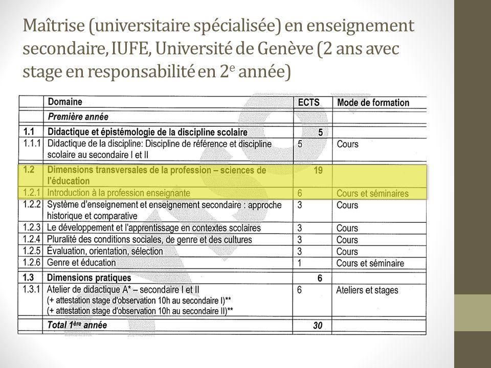 Maîtrise (universitaire spécialisée) en enseignement secondaire, IUFE, Université de Genève (2 ans avec stage en responsabilité en 2 e année)