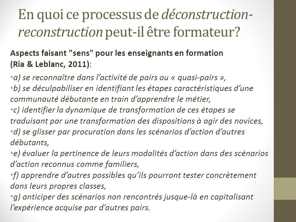 En quoi ce processus de déconstruction- reconstruction peut-il être formateur? Aspects faisant