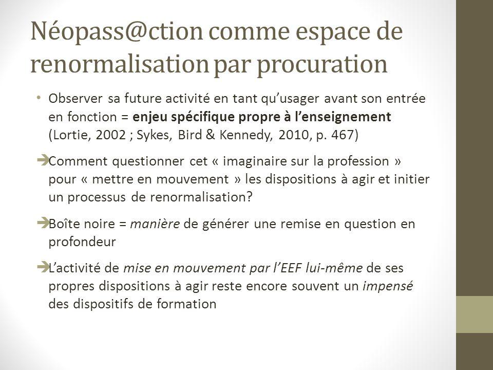 Néopass@ction comme espace de renormalisation par procuration Observer sa future activité en tant quusager avant son entrée en fonction = enjeu spécifique propre à lenseignement (Lortie, 2002 ; Sykes, Bird & Kennedy, 2010, p.