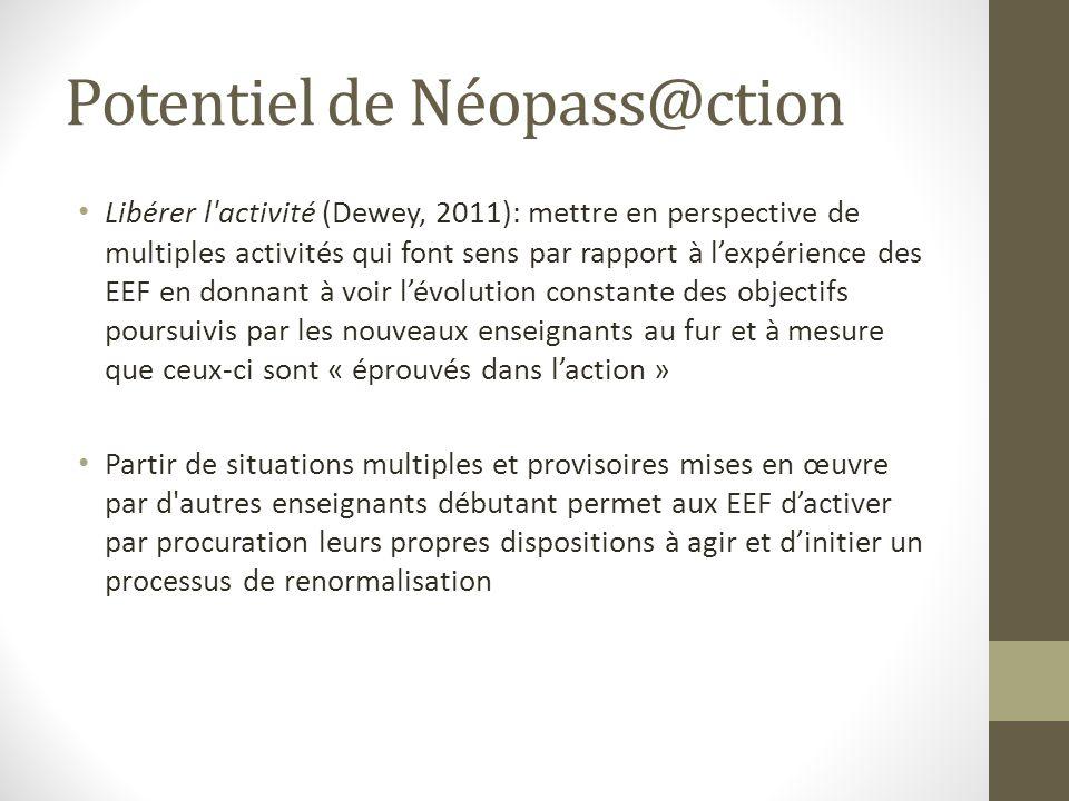 Potentiel de Néopass@ction Libérer l'activité (Dewey, 2011): mettre en perspective de multiples activités qui font sens par rapport à lexpérience des