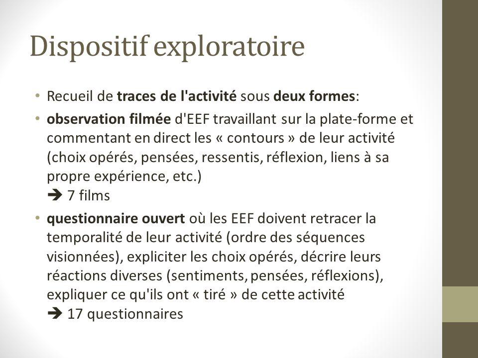 Dispositif exploratoire Recueil de traces de l'activité sous deux formes: observation filmée d'EEF travaillant sur la plate-forme et commentant en dir