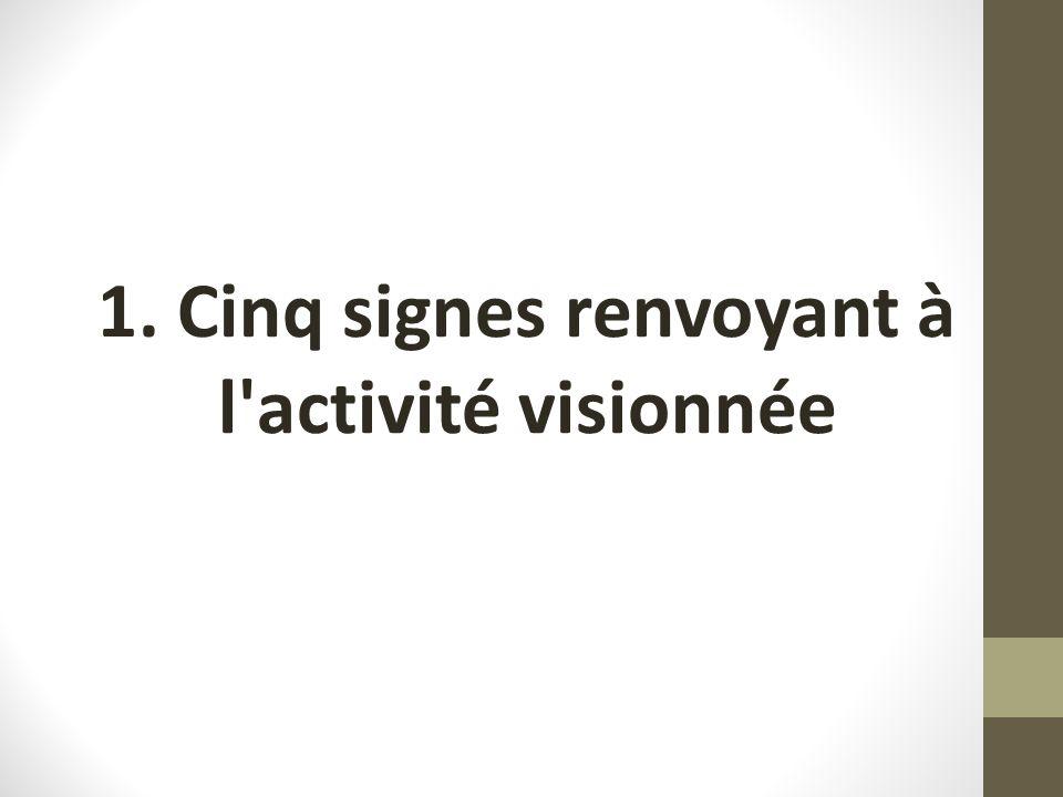 1. Cinq signes renvoyant à l'activité visionnée