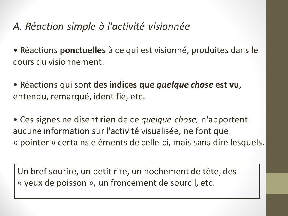 A. Réaction simple à l'activité visionnée Réactions ponctuelles à ce qui est visionné, produites dans le cours du visionnement. Réactions qui sont des