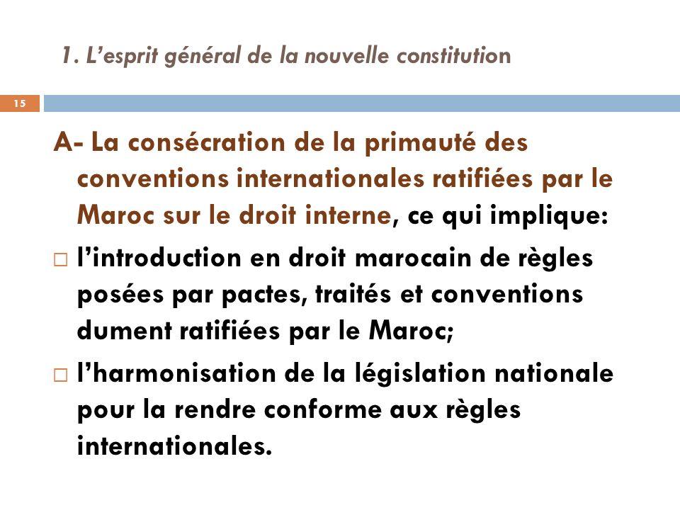 1. Lesprit général de la nouvelle constitution A- La consécration de la primauté des conventions internationales ratifiées par le Maroc sur le droit i