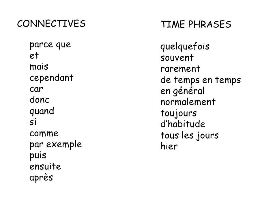 CONNECTIVES parce que et mais cependant car donc quand si comme par exemple puis ensuite après TIME PHRASES quelquefois souvent rarement de temps en temps en général normalement toujours dhabitude tous les jours hier