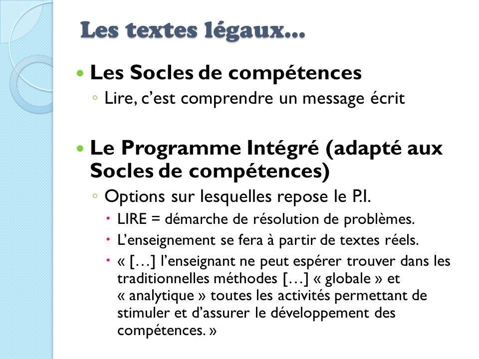 Les textes légaux… Les Socles de compétences Lire, cest comprendre un message écrit Le Programme Intégré (adapté aux Socles de compétences) Options su