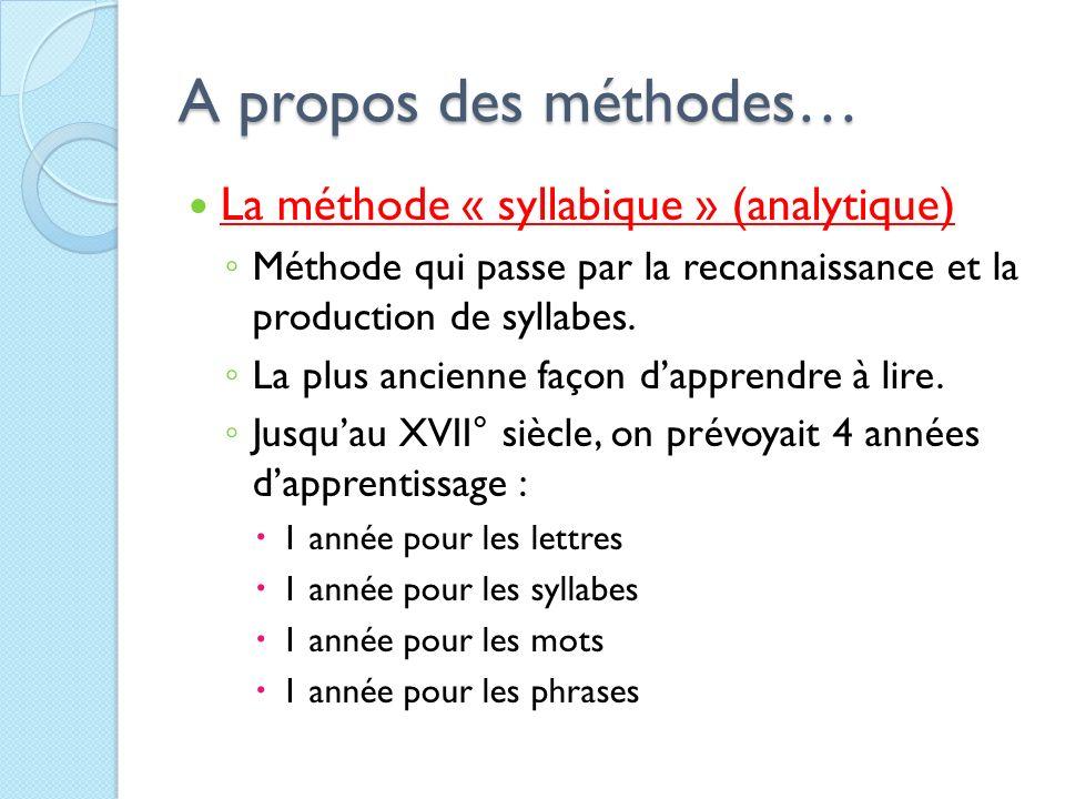 A propos des méthodes… La méthode « syllabique » (analytique) Méthode qui passe par la reconnaissance et la production de syllabes. La plus ancienne f