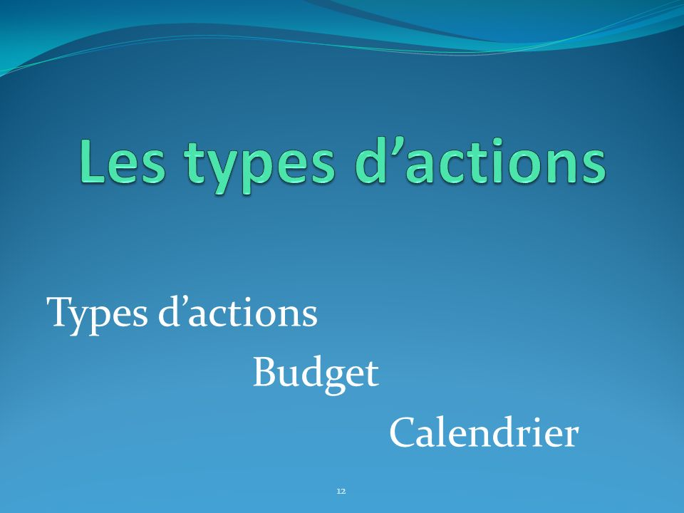 Types dactions Budget Calendrier 12