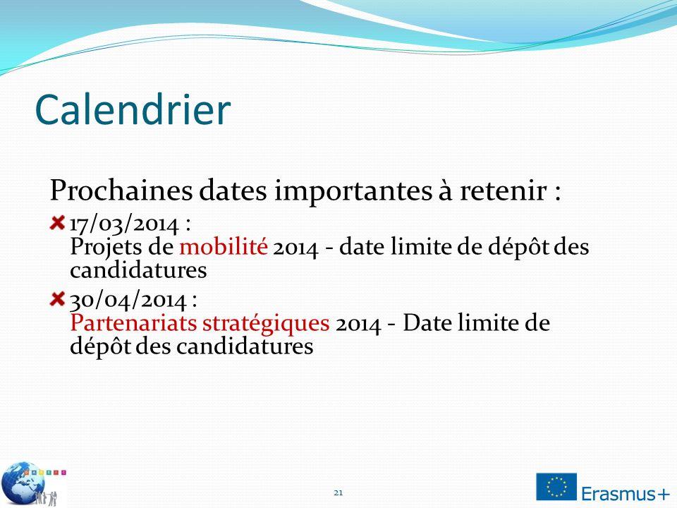 Calendrier 21 Prochaines dates importantes à retenir : 17/03/2014 : Projets de mobilité 2014 - date limite de dépôt des candidatures 30/04/2014 : Partenariats stratégiques 2014 - Date limite de dépôt des candidatures