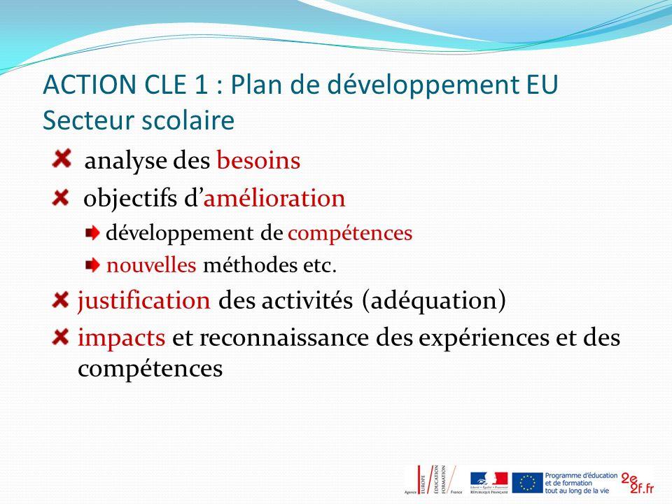 ACTION CLE 1 : Plan de développement EU Secteur scolaire analyse des besoins objectifs damélioration développement de compétences nouvelles méthodes e