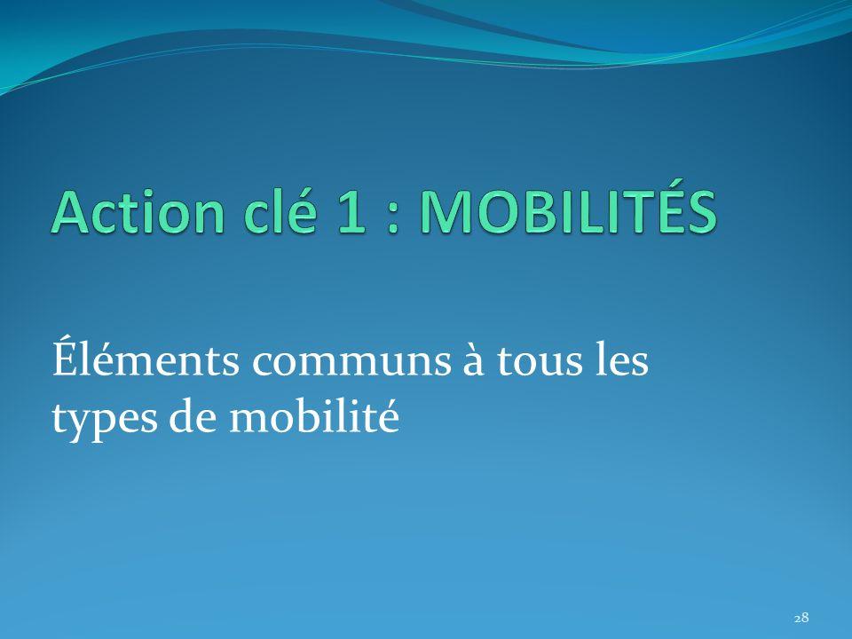 Éléments communs à tous les types de mobilité 28