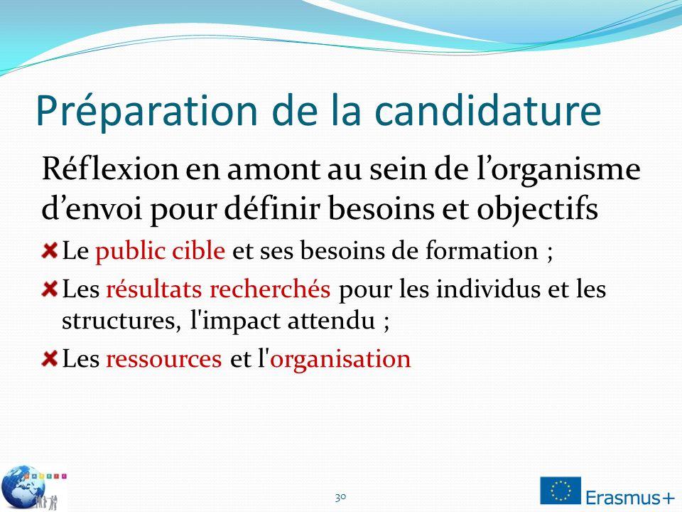 Préparation de la candidature Réflexion en amont au sein de lorganisme denvoi pour définir besoins et objectifs Le public cible et ses besoins de form
