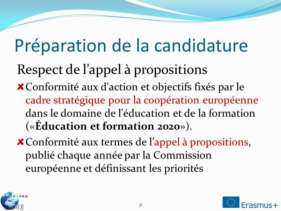 Préparation de la candidature Respect de lappel à propositions Conformité aux d action et objectifs fixés par le cadre stratégique pour la coopération européenne dans le domaine de l éducation et de la formation («Éducation et formation 2020»).
