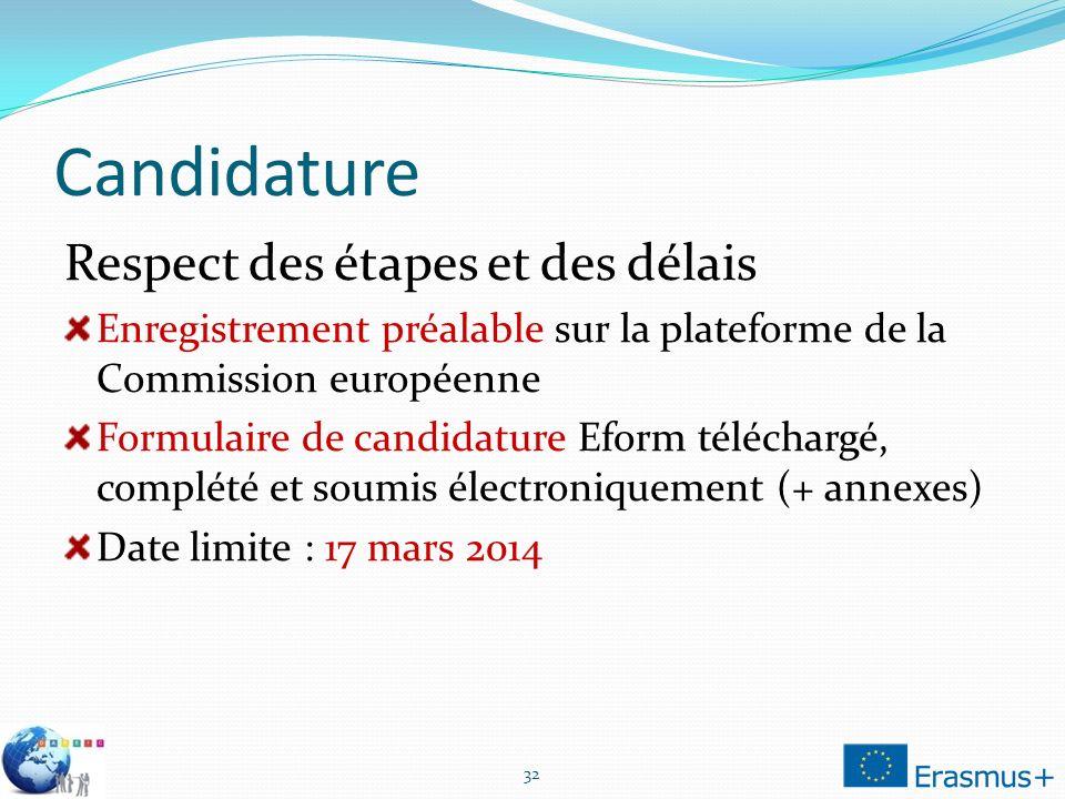 Candidature Respect des étapes et des délais Enregistrement préalable sur la plateforme de la Commission européenne Formulaire de candidature Eform té