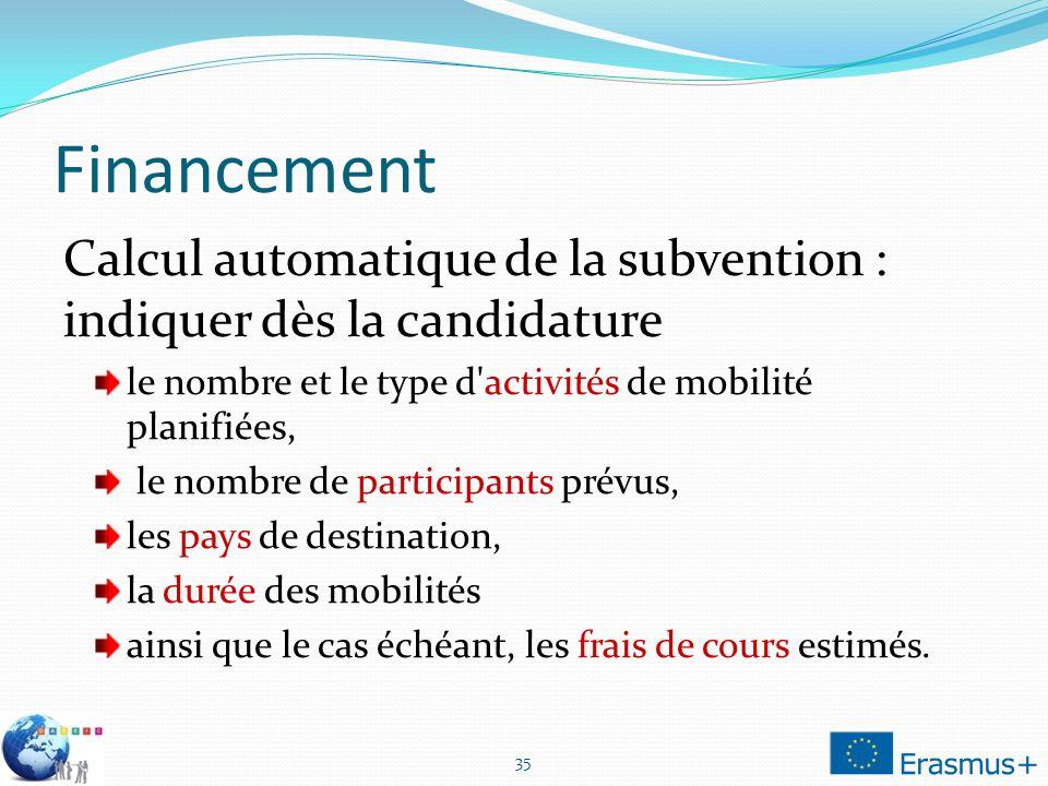 Financement Calcul automatique de la subvention : indiquer dès la candidature le nombre et le type d'activités de mobilité planifiées, le nombre de pa