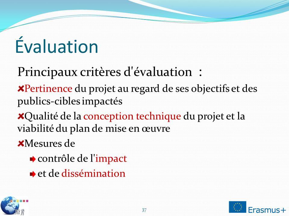Évaluation Principaux critères d'évaluation : Pertinence du projet au regard de ses objectifs et des publics-cibles impactés Qualité de la conception