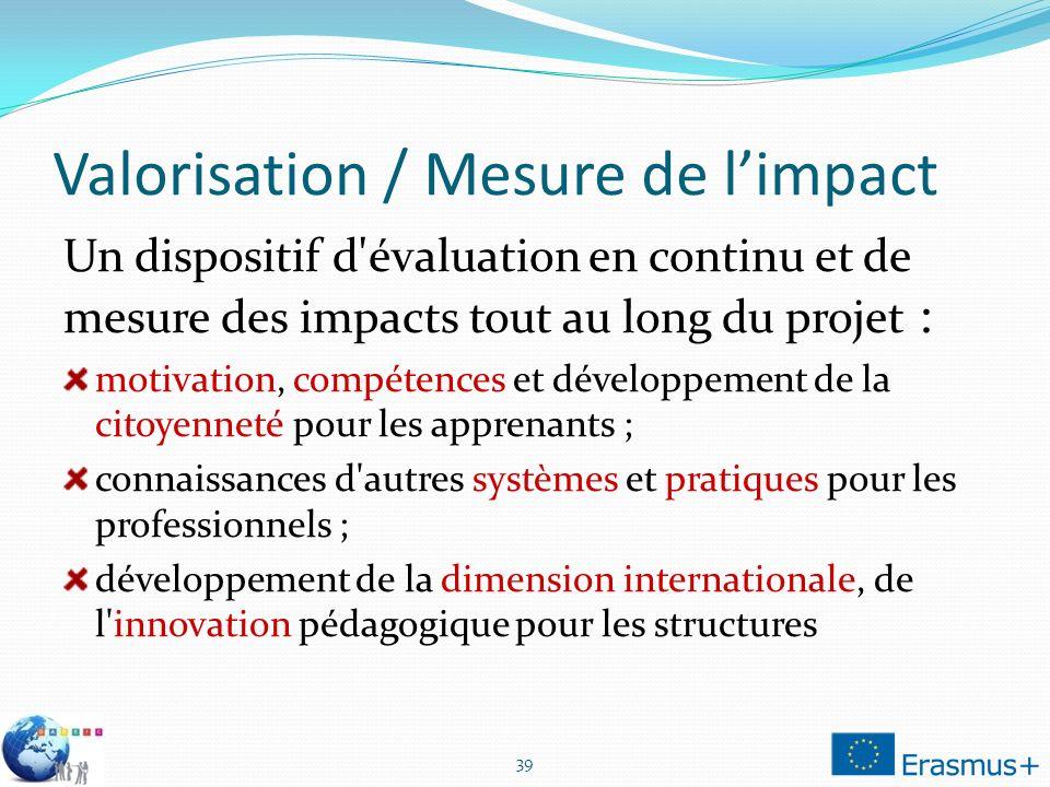 Valorisation / Mesure de limpact Un dispositif d'évaluation en continu et de mesure des impacts tout au long du projet : motivation, compétences et dé