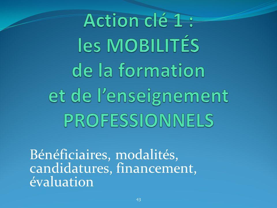 Bénéficiaires, modalités, candidatures, financement, évaluation 43